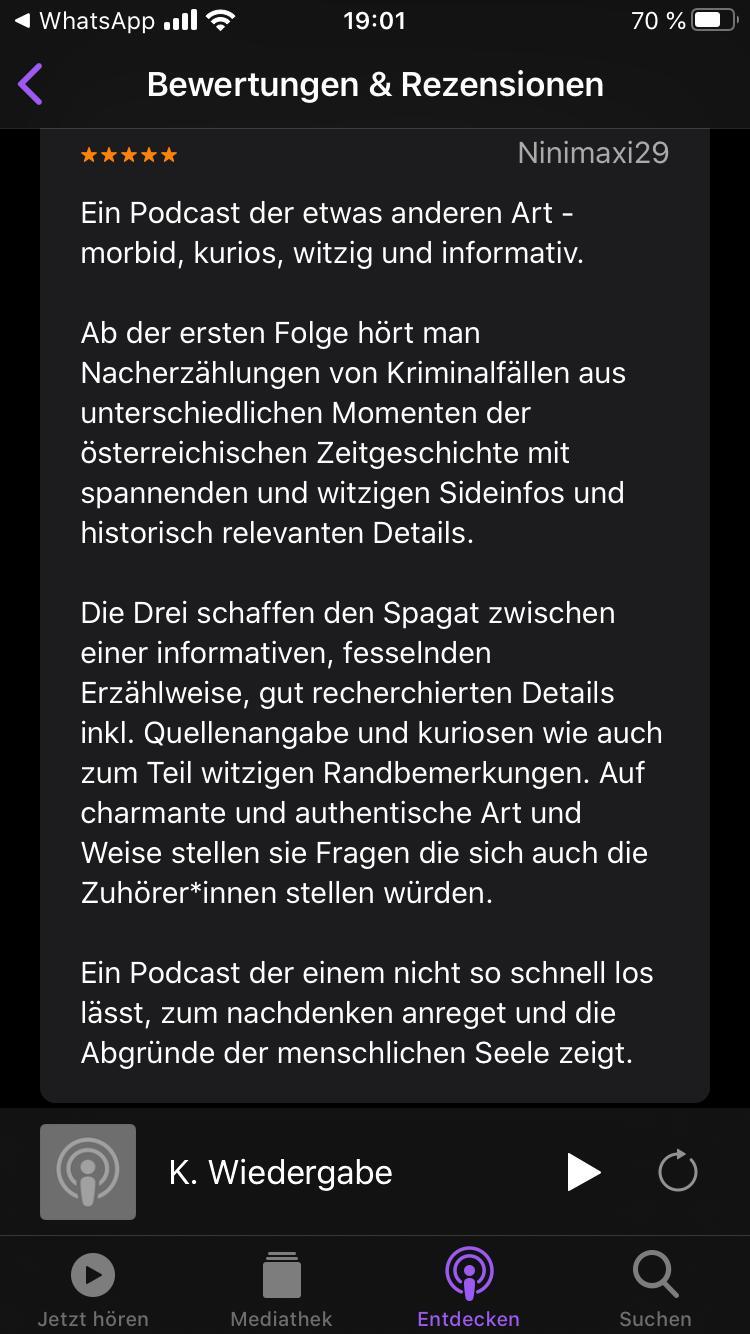 erste-Rezension_Apple-Podcasts_Wiener-Blut